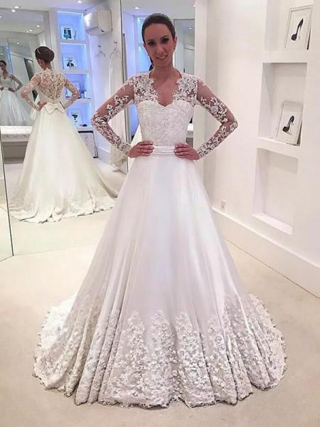 A-linjeformat V-ringning Satäng Långa ärmar Sweep släp Bröllopsklänningar