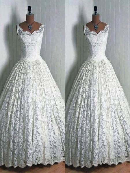 Stora Spetsar Hjärtformad Golvläng Ärmlös Bröllopsklänningar