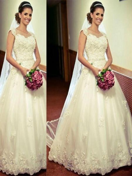 Stora Tyll Golvläng Ärmlös Hjärtformad Bröllopsklänningar