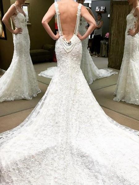 Stora Korta ärmar Golvläng Off-shoulder ringning Spetsar Bröllopsklänningar