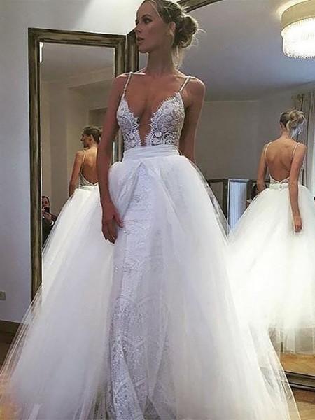 A-linjeformat Tyll Spetsar Smala axelband Ärmlös Golvläng Bröllopsklänningar