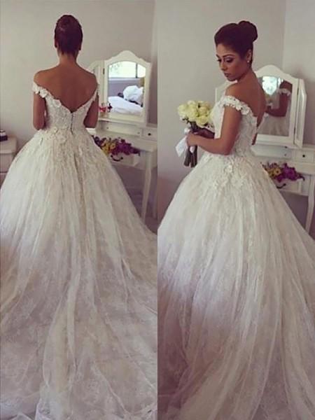 Stora Ärmlös Off-shoulder ringning Spetsar Court släp Bröllopsklänningar