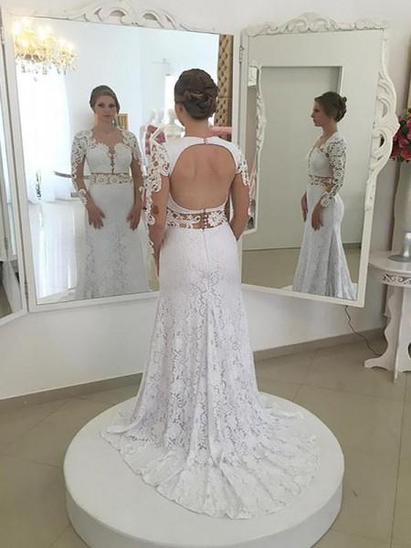 Slida/Kolumn Spetsar Långa ärmar Rund-urringning Sweep släp Bröllopsklänningar