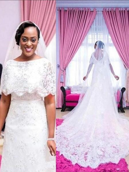 A-linjeformat Korta ärmar Rund-urringning Spetsar Court släp Bröllopsklänningar