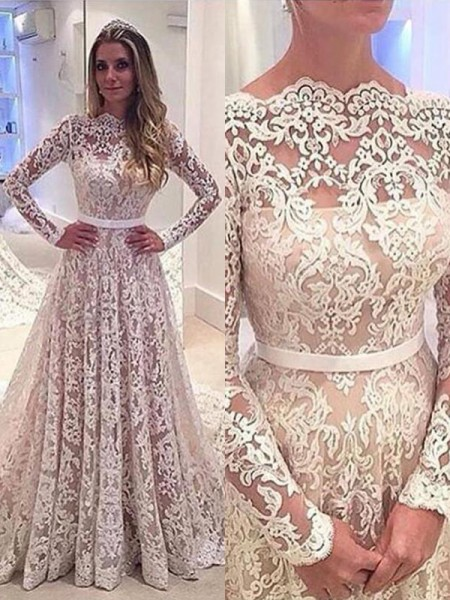 A-linjeformat Bateu Långa ärmar Spetsar Court släp Bröllopsklänningar