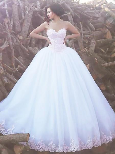 Stora Ärmlös Hjärtformad Sweep släp Organzapåse Bröllopsklänningar