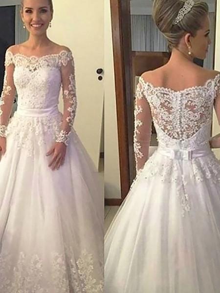Stora Långa ärmar Off-shoulder ringning Spetsar Tyll Court släp Bröllopsklänningar