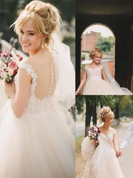 A-linjeformat Rund-urringning Court släp Tyll Ärmlös Bröllopsklänningar