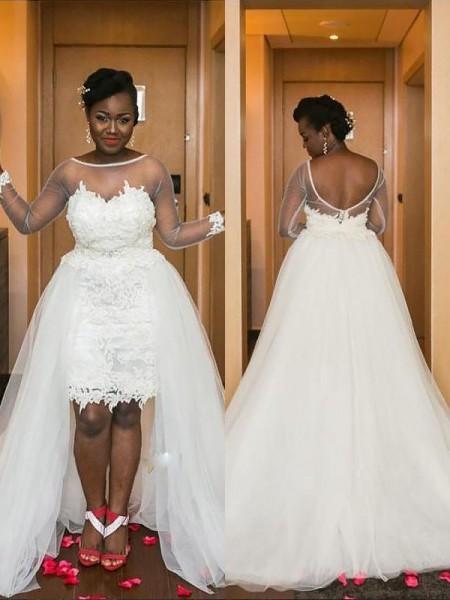 A-linjeformat Rund-urringning Court släp Tyll Långa ärmar Bröllopsklänningar