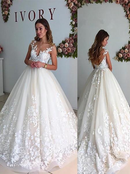 A-linjeformat V-ringning Court släp Tyll Ärmlös Bröllopsklänningar