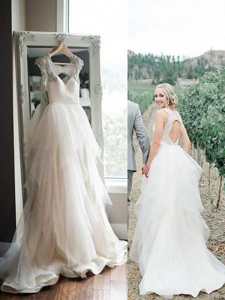 A-linjeformat Axelband Sweep släp Tyll Ärmlös Bröllopsklänningar