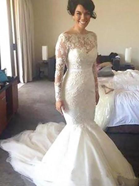 A-linjeformat Bateu Långa ärmar Tyll Court släp Applikation Bröllopsklänningar