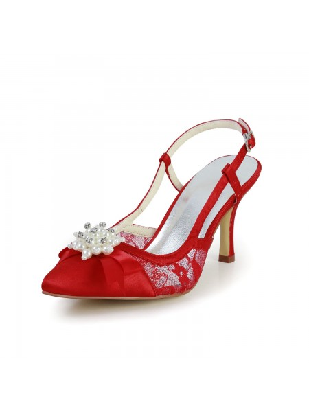 Women's Pretty Satäng Stiletto Heel Sandalerer Closed Toe Dekorera med Pärlor Red Bröllop Skor