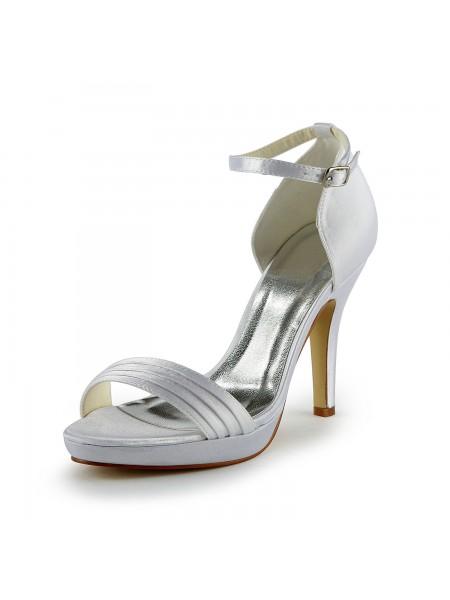Women's Pretty Satäng Stiletto Heel Sandalerer Dekorera med Buckle Vit Bröllop Skor