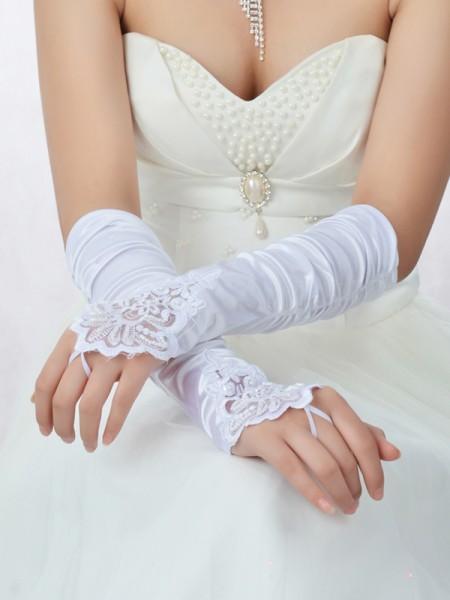 Romantic Spetsar Satäng Pärlbrodering Brudhandskar