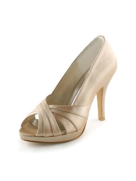 Women's Satäng Stiletto Heel Peep Toe Platform Sandalerer Champagne Bröllop Skor