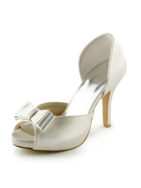 Women's Satäng Stiletto Heel Peep Toe Platform Sandalerer Ivory Bröllop Skor Dekorera med Rosett