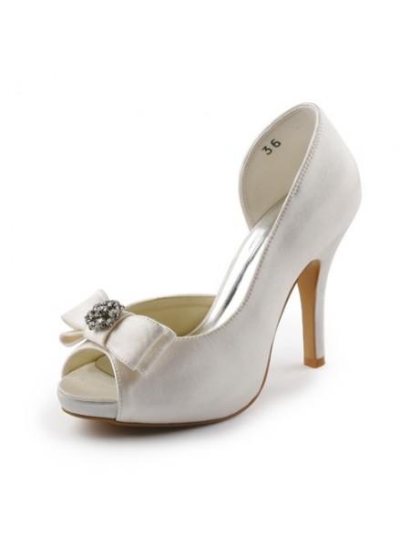 Women's Satäng Stiletto Heel Peep Toe Platform Ivory Bröllop Skor Dekorera med Rosett