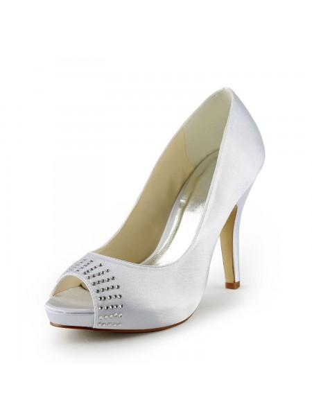 Women's Satäng Stiletto Heel Peep Toe Platform Vit Bröllop Skor Dekorera med Rhen Sten