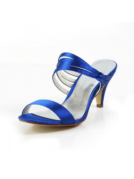 Women's Satäng Cone Heel Peep Toe Pumps Sandalerer Skor