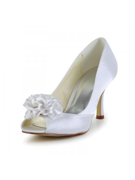 Women's Satäng Stiletto Heel Peep Toe Vit Bröllop Skor Dekorera med Blommor