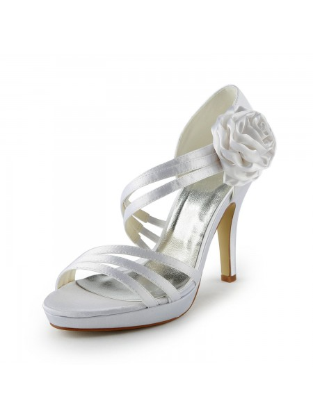 Women's Satäng Stiletto Heel Platform Sandalerer Vit Bröllop Skor Dekorera med Blommor