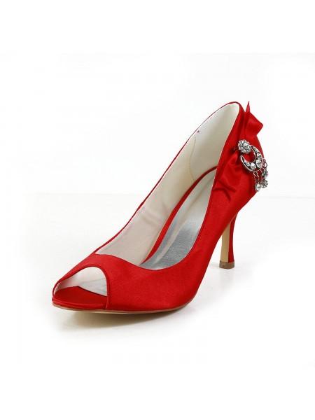Women's Satäng Peep Toe Spool Heel Dekorera med Rosett Red Bröllop Skor