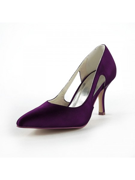 Women's Satäng Stiletto Heel Closed Toe Pumps Grape Bröllop Skor