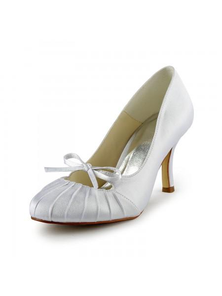 Women's Satäng Stiletto Heel Closed Toe Pumps Vit Bröllop Skor Dekorera med Rosett Volanger