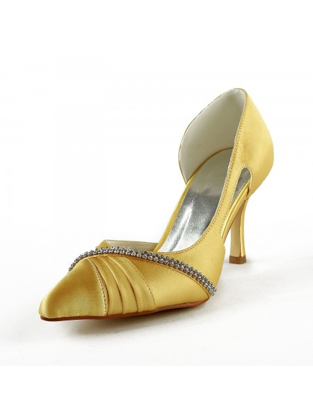 Women's Satäng Stiletto Heel Closed Toe Pumps Gold Bröllop Skor Dekorera med Rhen Sten