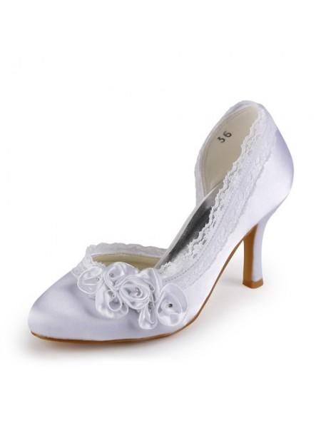 Women's Satäng Stiletto Heel Closed Toe Vit Bröllop Skor Dekorera med Rhen Sten