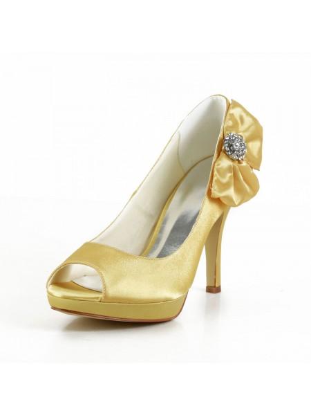 Women's Satäng Stiletto Heel Peep Toe Platform Gold Bröllop Skor Dekorera med Rosett