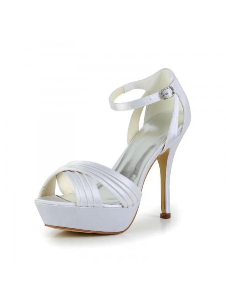 Women's Satäng Stiletto Heel Peep Toe Platform Sandalerer Vit Bröllop Skor Dekorera med Buckle