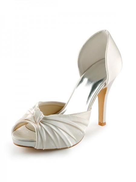 Women's Satäng Stiletto Heel Peep Toe Platform Pumps Vit Bröllop Skor Dekorera med Rosett
