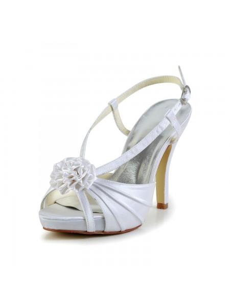 Women's Satäng Stiletto Heel Peep Toe Platform Vit Bröllop Skor Dekorera med Buckle