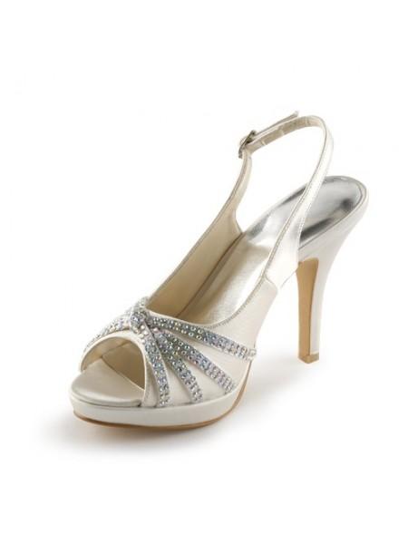 Women's Satäng Stiletto Heel Peep Toe Platform Dekorera med Rhen Sten Champagne Bröllop Skor