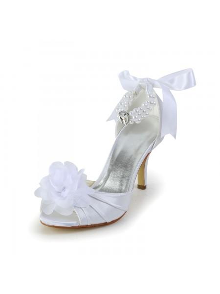 Women's Satäng Stiletto Heel Peep Toe Dansskor Dekorera med Imitation Pärlor
