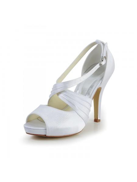 Women's Satäng Stiletto Heel Peep Toe Dekorera med Buckle Vit Bröllop Skor