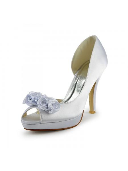 Women's Satäng Stiletto Heel Peep Toe Dekorera med Blommor Vit Bröllop Skor