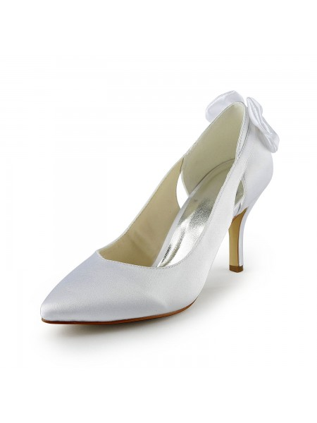 Women's Satäng Stiletto Heel Pumps Dekorera med Hollow-out Vit Bröllop Skor