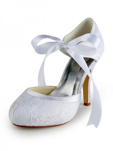 Women's Satäng Stiletto Heel Pumps Dekorera med Spetsar Vit Bröllop Skor