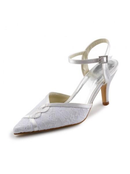 Women's Satäng Stiletto Sandalerer Dekorera med Stitching Spetsar Vit Bröllop Skor