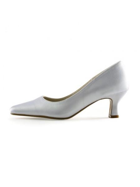 Women's Satäng Upper Chunky Heel Pointed Toe Vit Bröllop Skor