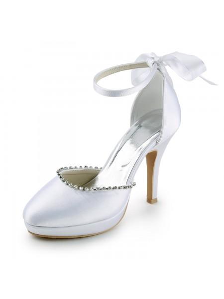 Women's Satäng Stiletto Heel Closed Toe Dekorera med Rhen Stens Vit Bröllop Skor