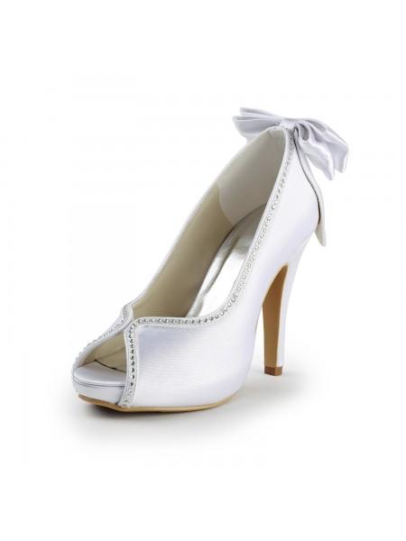 Women's Satäng Stiletto Heel Peep Toe Dekorera med Rosett Vit Bröllop Skor