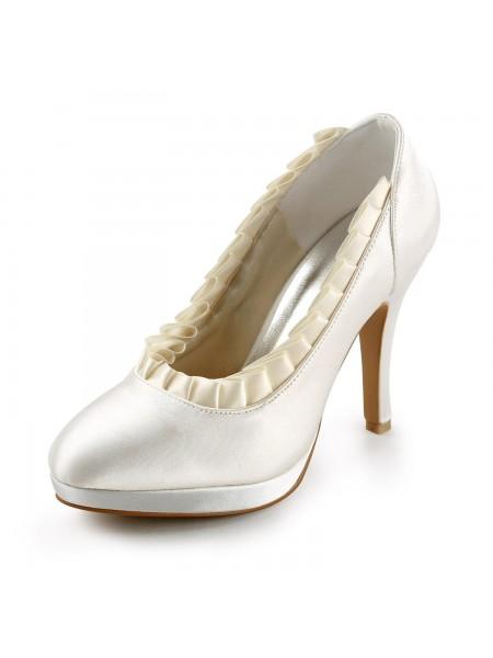 Women's Satäng Upper Stiletto Heel Pumps Dekorera med Rufsar Ivory Bröllop Skor