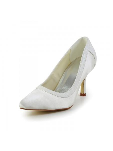 Women's Simple Satäng Stiletto Heel Closed Toe Vit Bröllop Skor