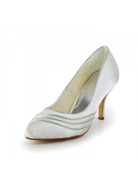 Women's Simple Satäng Stiletto Heel Pumps Vit Bröllop Skor
