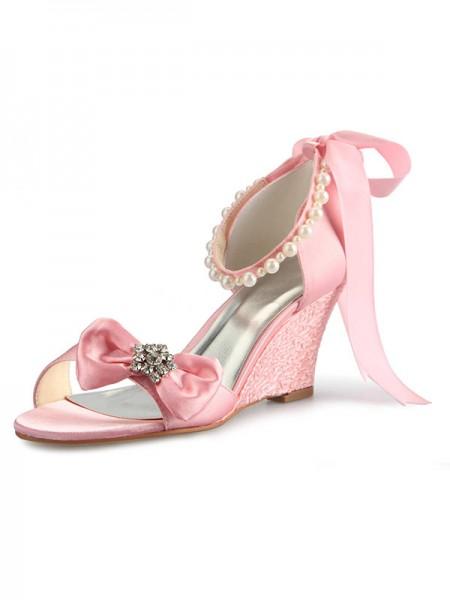 Women's Satäng kilar Heel Peep Toe Dekorera med Rhen Sten Pärlor Rosett Pink Bröllop Skor