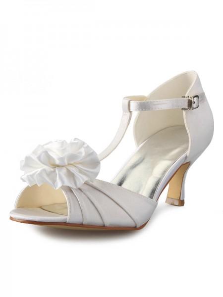 Women's Satäng Stiletto Heel T-Strap Peep Toe Dekorera med Blommor Dansskor